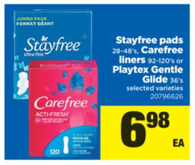 Stayfree Pads 28-48's - Carefree Liners 92-120's Or Playtex Gentle Glide 36's