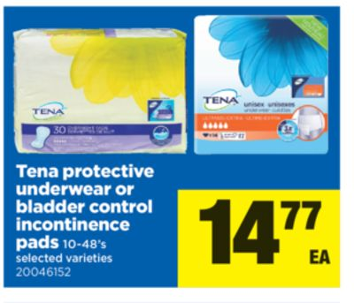 Tena Protective Underwear Or Bladder Control Incontinence Pads - 10-48's