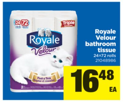 Royale Velour Bathroom Tissue - 24=72 Rolls