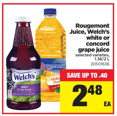 Rougemont Juice - Welch's White Or Concord Grape Juice - 1.36/2 L