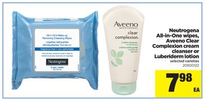 Neutrogena All-in-one Wipes - Aveeno Clear Complexion Cream Cleanser Or Luberiderm Lotion