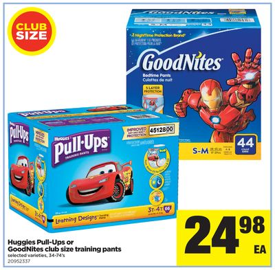 Huggies Pull-ups Or Goodnites Club Size Training Pants - 34-74's