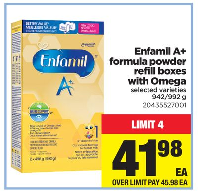 Enfamil A+ Formula Powder Refill Boxes With Omega - 942/992 g