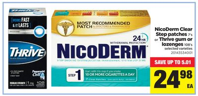 Nicoderm Clear Step Patches - 7's Or Thrive GUM Or Lozenges - 108's