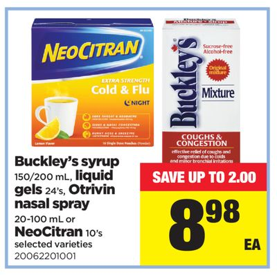 Buckley's Syrup - 150/200 mL - Liquid Gels - 24's - Otrivin Nasal Spray - 20-100 mL Or Neocitran - 10's