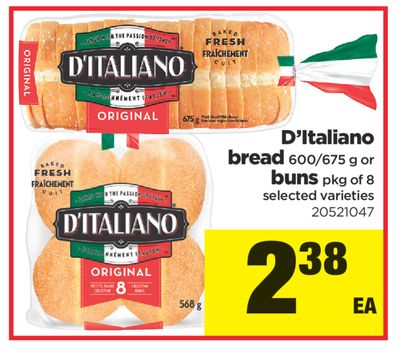 D'italiano Bread - 600/675 G Or Buns - Pkg Of 8