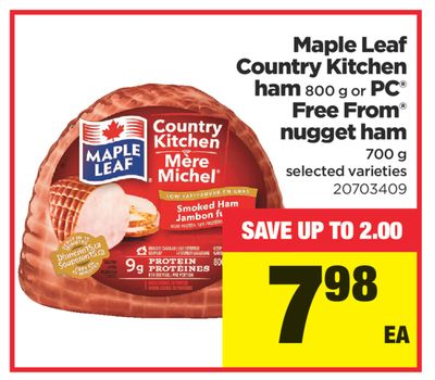 Maple Leaf Country Kitchen Ham - 800 g or PC Free From Nugget Ham