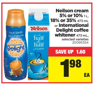 Neilson Cream 5% Or 10% - 1 L - 18% Or 35% - 473 Ml Or International Delight Coffee Whitener - 473 Ml