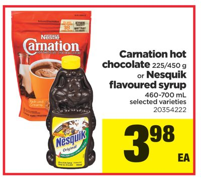 Carnation Hot Chocolate - 225/450 G Or Nesquik Flavoured Syrup - 460-700 Ml