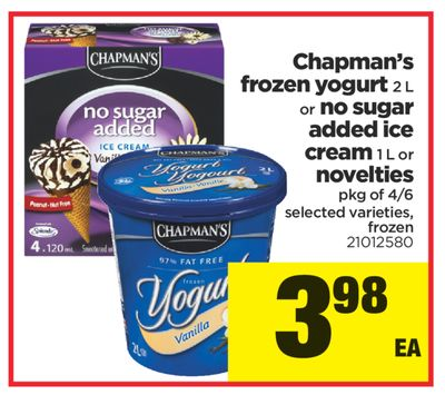 Chapman's Frozen Yogurt - 2 L Or No Sugar Added Ice Cream - 1 L Or Novelties - Pkg of 4/6