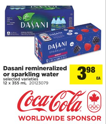 Dasani Remineralized Or Sparkling Water - 12 X 355 mL