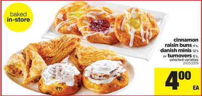 Cinnamon Raisin Buns 4's - Danish Minis 12's Or Turnovers 6's