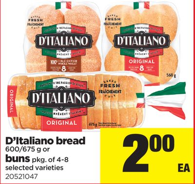 D'italiano Bread - 600/675 g Or Buns - Pkg of 4-8