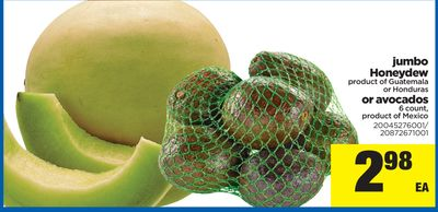 Jumbo Honeydew Or Avocados - 6 Count