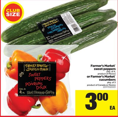 Farmer's Market Sweet Peppers - Pkg of 4 - Or Farmer's Market Cucumbers - Pkg of 3