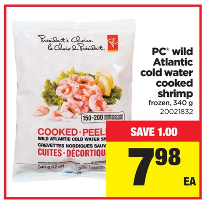 PC Wild Atlantic Cold Water Cooked Shrimp - 340 g