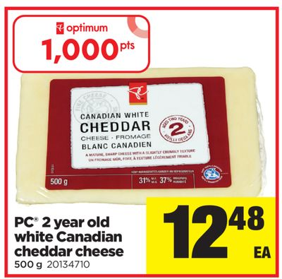 PC 2 Year Old White Canadian Cheddar Cheese - 500 g