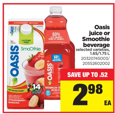 Oasis Juice or Smoothie Beverage
