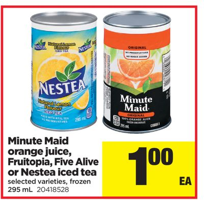 Minute Maid Orange Juice - Fruitopia - Five Alive Or Nestea Iced Tea - 295 mL