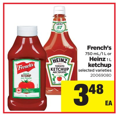 French's 750 Ml/1 L Or Heinz 1 L Ketchup