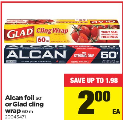 Alcan Foil 50' Or Glad Cling Wrap - 60 M