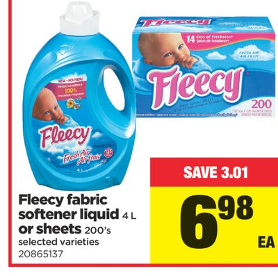 Fleecy Fabric Softener Liquid 4 L or Sheets 200's