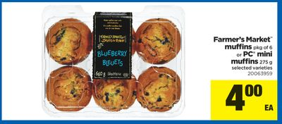 Farmer's Market Muffins Pkg Of 6 Or PC Mini Muffins - 275 G