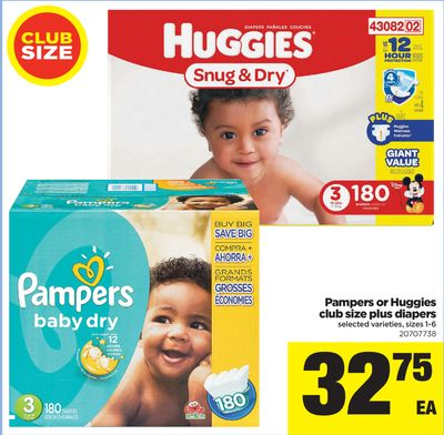 Pampers Or Huggies Club Size Plus Diapers - Sizes 1-6