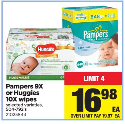 Pampers 9x Or Huggies 10x Wipes - 504-792's