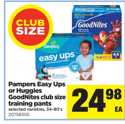 Pampers Easy Ups Or Huggies Goodnites Club Size Training Pants - 34-80's