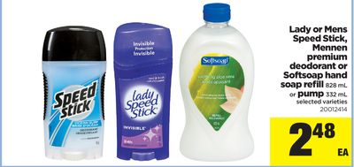 Lady Or Mens Speed Stick - Mennen Premium Deodorant Or Softsoap Hand Soap Refill - 828 mL or Pump - 332 mL
