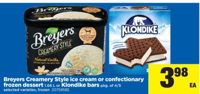 Breyers Creamery Style Ice Cream Or Confectionary Frozen Dessert 1.66 L Or Klondike Bars Pkg - Of 4/5