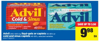 Advil - 200-400 Mg Liqui-gels or Caplets - 50-80's or Cold And Sinus Caplets - 40-50's
