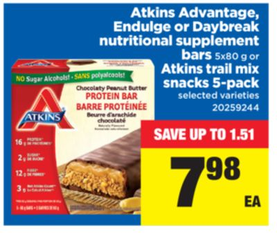 Atkins Advantage - Endulge Or Daybreak Nutritional Supplement Bars - 5x80 g or Atkins Trail Mix Snacks - 5-pack