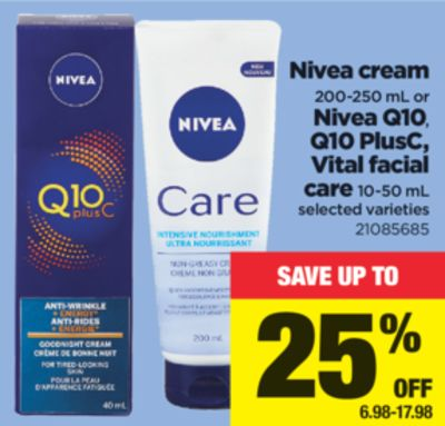 Nivea Cream 200-250 Ml Or Nivea Q10 - Q10 Plusc - Vital Facial Care 10-50 Ml