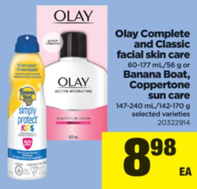 Olay Complete And Classic Facial Skin Care 60-177 Ml/56 G Or Banana Boat - Coppertone Sun Care - 147-240 Ml/142-170 g