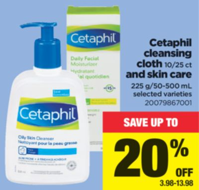 Cetaphil Cleansing Cloth - 10/25 Ct And Skin Care - 225 G/50-500 mL