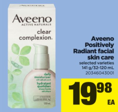 Aveeno Positively Radiant Facial Skin Care - 141 G/32-120 mL