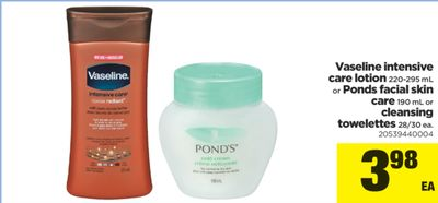 Vaseline Intensive Care Lotion - 220-295 mL Or Ponds Facial Skin Care - 190 mL Or Cleansing Towelettes - 28/30 Ea.