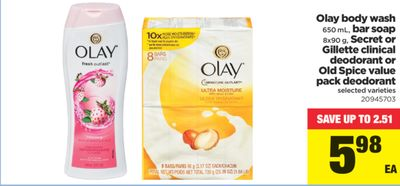 Olay Body Wash - 650 mL - Bar Soap - 8x90 g - Secret Or Gillette Clinical Deodorant Or Old Spice Value Pack Deodorant