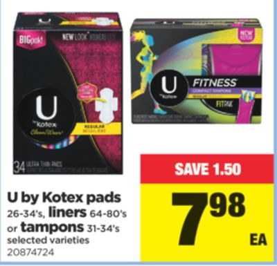 U By Kotex - Pads 26-34's - Liners - 64-80's Or Tampons - 31-34's