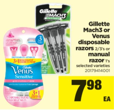Gillette Mach3 Or Venus Disposable Razors - 2/3's Or Manual Razor - 1's