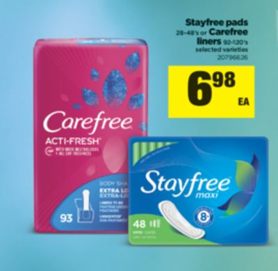 Stayfree Pads - 28-48's Or Carefree Liners - 92-120's