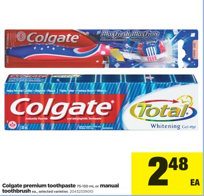 Colgate Premium Toothpaste - 75-130 mL Or Manual Toothbrush