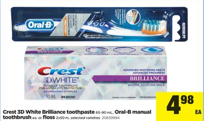 Crest 3D White Brilliance Toothpaste - 65-90 mL - Oral-b Manual Toothbrush - Ea. Or Floss - 2x50 M