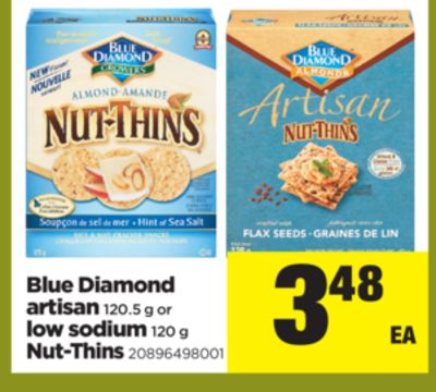 Blue Diamond Artisan 120.5 G Or Low Sodium 120 G Nut-thins