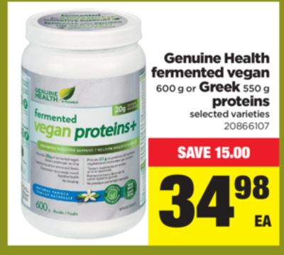 Genuine Health Fermented Vegan 600 G Or Greek 550 G Proteins