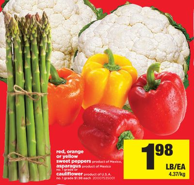 Red - Orange Or Yellow Sweet Peppers - Asparagus - Cauliflower