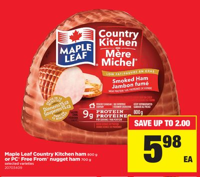 Maple Leaf Country Kitchen Ham - 800 g Or PC Free From Nugget Ham - 700 g
