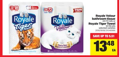 Royale Velour Bathroom Tissue - 24=72 Rolls Or Royale Tiger Towel - 12=18 Rolls